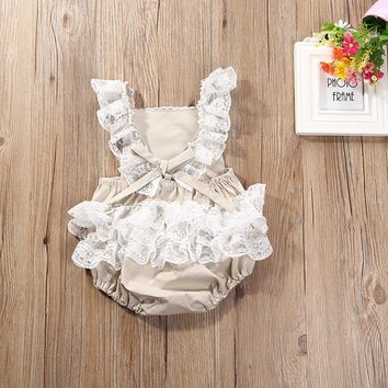 Newborn Infant Baby Kids Girls Clothes Lace Romper Cake Sunsuit Outfits