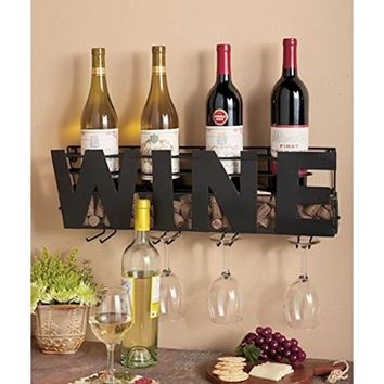 """Amazon.com: Premium Black Wall Mount Metal Wine Rack With """"WINE"""" Word By Besti – Hanging Horizontal Bottle Holder Storage Decorative Display – Sturdy Construction –Home Décor For Living Room Or Kitchen (Wine): Home & Kitchen"""
