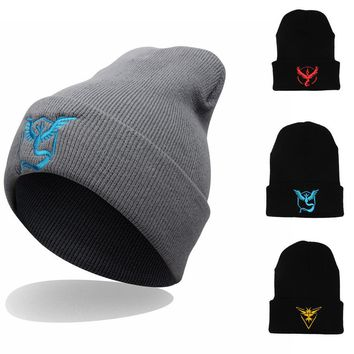 Perfect Embroidery Pattern Hiphop Women Men Beanies Winter Knit Hat Cap