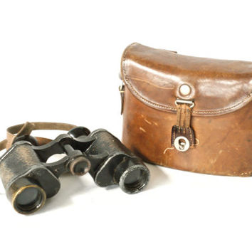 SWISS ARMY 1916 Binoculars, Leather Case, WW1 Era Binoculars, Brown Leather Bag, Carl Zeiss Jena, D.F 8X, Swiss Military Bag, Switzerland