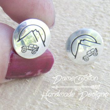 Mountain Stud Earrings, Stud Earrings, Sterling Silver, Silver Stud Earrings, Nature Jewelry, Mountain Jewelry, Jeep Earrings, Jeep Girl