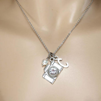Personalized, Initial, Pearl, Birthstone, Camera, Silver, Necklace, Lovers, Friends, Sister, Gift