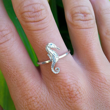 Seahorse Ring, Sterling Silver