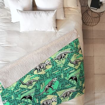 Chobopop Nineties Dinosaur Skeleton Pattern Fleece Throw Blanket