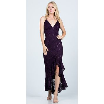 Eggplant High and Low Wedding Guest Dress with Ruffles