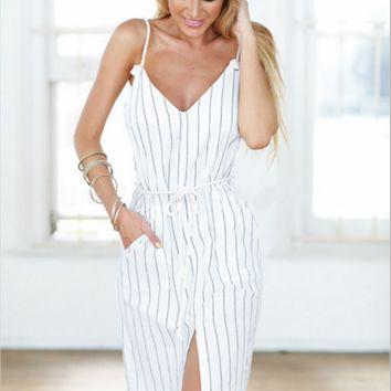 Summer new vertical striped V-neck slit pocket strap dress