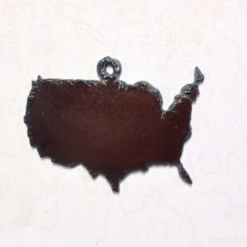 Rustic Rusty Rusted Recycled Metal Pendant Cutout USA United States America Charms