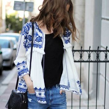 Boho Inspired shirt 2017 White cotton Blue Floral Embroidery hippie chic loose blouse tassel lace-up women bohemian clothing