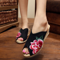 Wedge Embroidery Height Increase Shoes Slippers [6050415745]