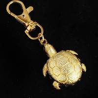 Gold Tortoise Turtle Pendant Pocket Quartz Watch Key Ring Chain Gift