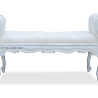 Fabulous and Baroque — Isadora French Upholstered Bench - White