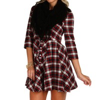 Sale-red Miss Jack Flannel Skater Dress