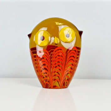 Murano Italian Art Glass Owl Paperweight Figure Galliano Ferro, Galliano Ferro Wise Owl Murano Glass with Labels, Vintage Murano Art Glass