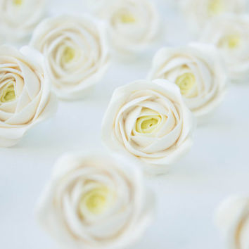 Floral Wedding Magnets 'Paradise Rose', Ivory Party Favors, Ivory Rose Favors