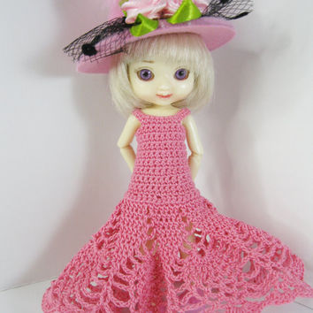Amelia Thimble Doll Clothes Outfit only Handmade Royal Blue Crochet dress and hat