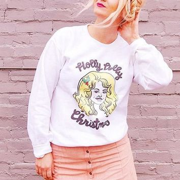 Holly Dolly Christmas Crewneck Sweatshirt