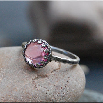 Pink Topaz October Birthstone Ring, Crown Bezel Set Pink Topaz Ring, Sterling Silver Topaz Ring, Cocktail Ring, Pink Topaz Engagement Ring