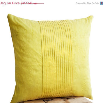 Memorial Day SALE Throw pillows in yellow art silk - Attractive cushion in rippled pin tuck pattern - Decorative pillows for sofa - Couch pi