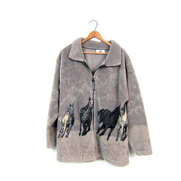 Cozy HORSE Fleece Jacket Plush Grey Zip Up Sweater Coat Horse Print Blanket Coat with POCKETS 90s Cosy Sweatshirt Jacket Womens Small Medium