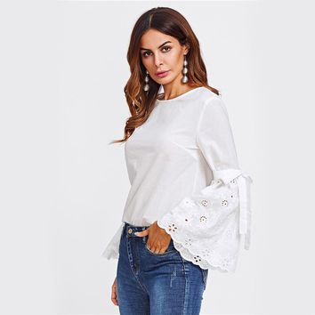 Belted Eyelet Embroidered Flare Sleeve Blouse White Round Neck Plain Blouse Womens Casual Autumn Blouse