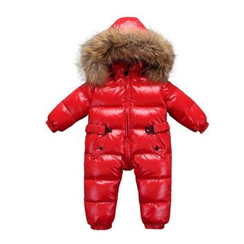 Newborn Baby Winter Coat Outerwear Fashion Hooded Parkas 90% White Duck Down Jumpsuit Large Fur Rompers Infant Clothing Snowsuit