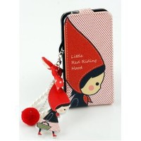 Wood Red Riding Hood Design Mobile Cell Phone Charm