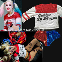 Cheap Suicide Squad Harley Quinn Daddy's Lil Monster T Shirt  Sexy Shorts 2016 Harley Quinn Cosplay Costume Women Tee And Shorts