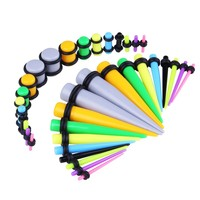 BodyJ4You Gauges Kit 18 Pairs Mix Colors Acrylic Tapers & Plugs 14G 12G 10G 8G 6G 4G 2G 0G 00G 36 Pieces
