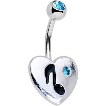 Aqua Gem I Heart Music Belly Ring