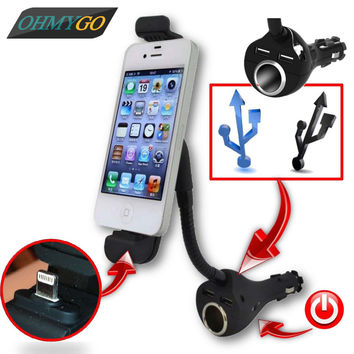 Car Phone Holder with Dual USB Charger Cigarette Lighter Socket Mount Stand For Cell Phone GPS MP3 Player iPhone 5 5s 6