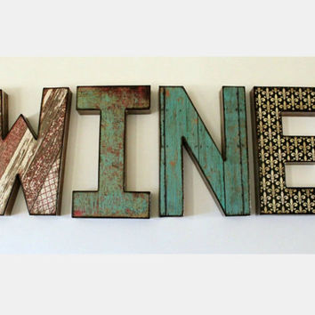 WINE Letters 8 inch Word Wall Shelf Decor