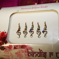 Curly Gold bead Fancy Bindi & Crystal Handmade Bindis.