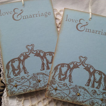 Wedding Wish Tree Tags Elephant Love and Marriage Set of 25