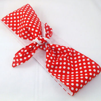Head Scarf, Red and White Polka Dots with White on back Solid 40s Hair Rockabilly Pin Up Headscarf Headband Bandanna