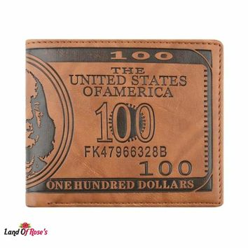 LandOfRoses 1 Pc US Dollar Bill Wallet Brown PU Leather Bi-fold Credit Card
