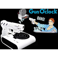 LCD Laser Gun Shooting Target Wake UP Alarm Desk Clock Novelty Gadget Fun Toy