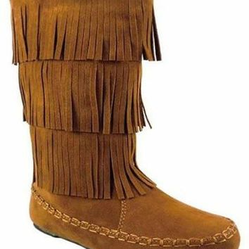 Girls Tall Fringe Boots-Tan