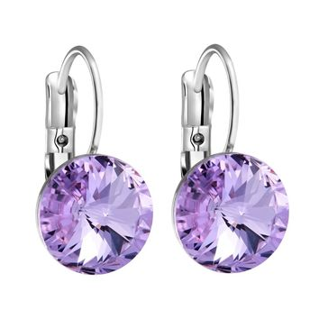 Gorgeous Special Magical Large Stud Style Lavender Purple Sparkling Crystals Silver-Tone Earrings