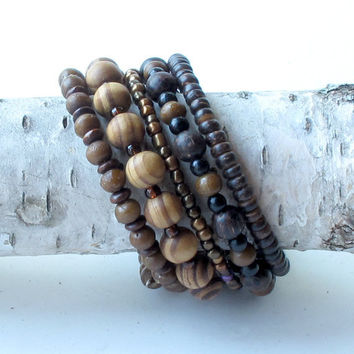 Wood beaded bracelet - brown wood and glass beads - five stacking bangles in one