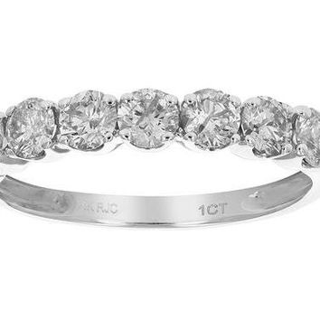 0.96 Carats 1 CT AGS Certified I1-I2 Diamond Wedding Band Prong Set in 14K White Gold