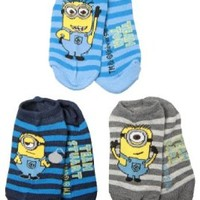 Despicable Me 2 Striped Minions Youth No Show Socks - 3 Pack, Youth Size 6 - 8.5