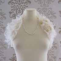 MARCIE Ruffle Mohair Rosette Romantic Bridal Light Cream Long Shawl/Wrap