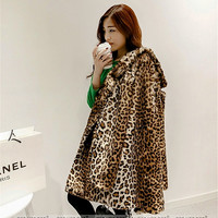 New leopard print winter turn-down collar women faux fur coat outerwear