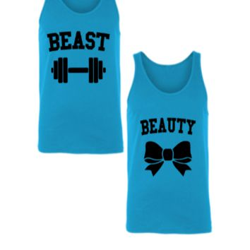 BEAST AND BEAUTY COUPLE - Unisex Couple Tank Top