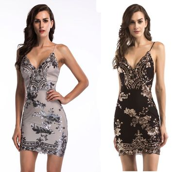 women sexy V-neck strap halter sequins ready dress girls dinner mini dresses