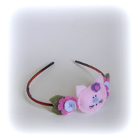 Baby pink headband light hot easter kitty cat flower hair band handmade felt felted blue girls gift flowers violet hairband