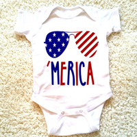 Merica 4th of July graphic for babies, newborn, 6 months, 12 months, 18 months funny graphic baby Onesuit