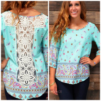 Sweet Harmony Islands Mint Paisley Print Top