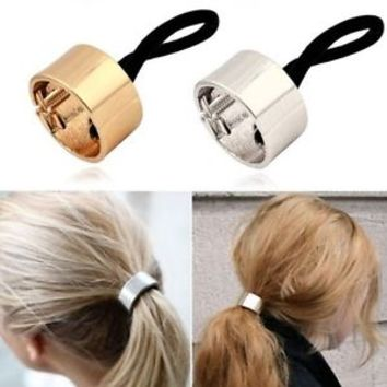 Silver Gold Hair Cuff Wrap Ponytail Metal Holder Ring Tie Elastic Hair Band Rope