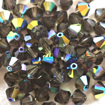 Lot of 24 6mm Black Diamond AB bicones, Czech Preciosa pressed glass bicone beads C50101